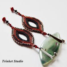 #Earrings, #beading, #TrinkertStudio