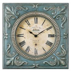 Uttermost 06422 Canal St. Martin Square Analog Wall Clock with Roman Numerals Aged Ivory with Blue Home Decor Clocks Wall Clocks