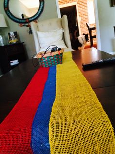 Burlap table runner with Colombian Flag.