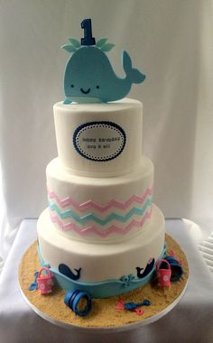 Whale Themed 1st Birthday Cake - Kyrsten's Sweet Designs | Custom Designed Cakes and Cookie Favors