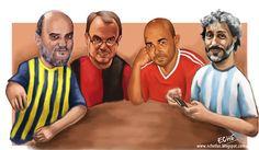 Roberto Fontanarrosa, Marcelo Bielsa, Eduardo Sacheri y Ariel Scher en la pluma de Sebastián Etcheberry.