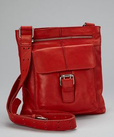 Take a look at this Red Leather Buckle Crossbody Bag by Nino Bossi Handbags on #zulily today!