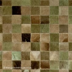 Chantilly Verdi Rug (texture close up), a luxurious patchwork style cowhide leather rug in shades of green, beige & brown (available in 6 set & also custom sizes, handmade in Spain) http://www.therugswarehouse.co.uk/modern-rugs3/girona-rugs/chantilly-verdi-rug.html #rugs #luxury