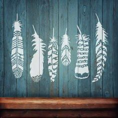 Feathers wall stencil kit for wall decor