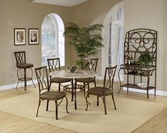 Hillsdale Brookside 5 piece Round Dining Set with Oval Back Chairs-Brown Powder Coat - Dining Table Sets at Hayneedle Rectangle Dining Table, Round Dining Table Sets, Dining Table Setting, Dining Room Furniture, Rectangle Dining Set, Dining Chairs, Hillsdale Furniture, Dining Table In Kitchen, Rectangle Dining Room Set