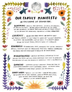 posters wall Family Manifesto Art Print, Watercolor Poster, Peaceful Protest Wall Art, Nursery Decor by Little Truths Studio Protest Posters, Family Mission Statements, Family Meeting, Peaceful Protest, Print Packaging, Family Traditions, Family Life, Family Motto, Messages