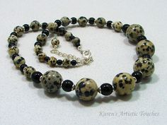 Karen's Artistic Touches Store - Black Spotted Dalmation Jasper Gemstone Glass Beaded Necklace, $39.99 (http://www.karensartistictouches.com/black-spotted-dalmation-jasper-gemstone-glass-beaded-necklace/)
