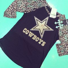 This is not a junior size raglan. It's a ladies and true true to size. Lace or solid cheetah sleeves! Lace cheetah: see through as p… Dallas Cowboys Crafts, Dallas Cowboys Outfits, Dallas Cowboys Pictures, Dallas Cowboys Women, Cowboy Outfits, Dallas Cowboys Football, How Bout Them Cowboys, Star Clothing, Dress To Impress