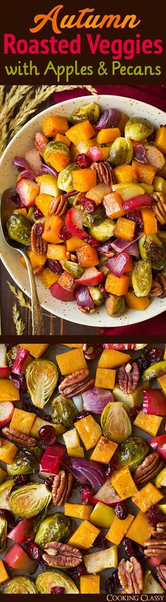 Autumn Roasted Veggies with Apples and Pecans - Cooking Classy christmas dinner dishes Side Dish Recipes, Vegetable Recipes, Vegetarian Recipes, Cooking Recipes, Healthy Recipes, Vegetarian Grilling, Healthy Grilling, Healthy Tips, Thanksgiving Recipes