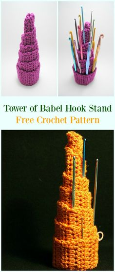 Crochet Tower of Babel Hook Stand Free Pattern-#Crochet #HookCase & Holders Free Patterns