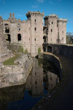 Raglan Castle ruins, dating from the 15th c near Abergavenny, Wales - UK.  It lasted until until the 17th century when it was compromised. Owned by the Somersets, it was allowed to decline and is now visitable.