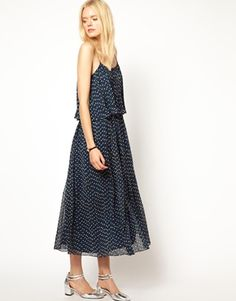 Girl. by Band of Outsiders Tiered Maxi Dress in Tulip Print Silk