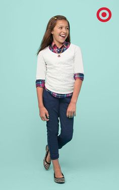 Using seasonal layers in new ways is a must-have look for kids' back to school style.