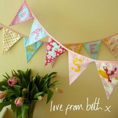 Beautiful Personalised Bunting - Pink