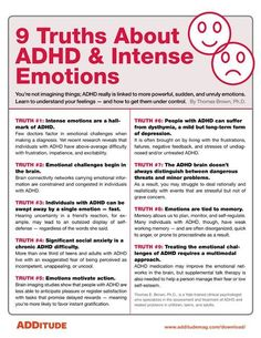 ADHA and Intense Emotions When most people think of ADHD, they think of hyperactive behavior or difficulties paying attention. What often doesn't spring to mind are intense emotional ups and downs. Adhd Odd, Adhd And Autism, Autism Parenting, Parenting Plan, Foster Parenting, Adhd Brain, Adhd Help, Adhd Diet, Mental Health