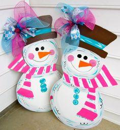 Wooden Snowman for your front door - wooden door decoration - wooden door hanging. $46.00, via Etsy.