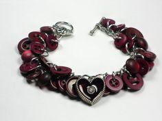 Plum Wine Button Bracelet Heart Charm Bracelet by TreasuredSweets