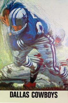 Vintage Dallas Cowboys 1960s NFL poster art by David Boss #Dallas #Cowboys #NFL #DallasCowboys #CowboyNation