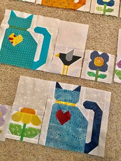My Sewing Room: Cats & flowers update Cat Quilt Patterns, Quilt Square Patterns, Blanket Patterns, Pattern Blocks, Quilting Projects, Quilting Designs, Sewing Projects, Quilting Ideas, Mini Quilts