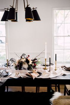 table scape, breakfast, dark, black moody fall girls brunch at home