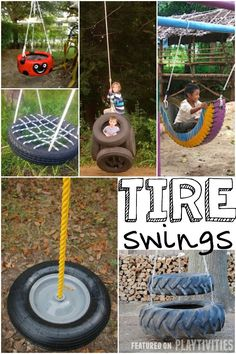 Diy tire swing, Diy swing and Kids Outdoor Play, Kids Play Area, Backyard For Kids, Outdoor Toys, Backyard Games, Diy For Kids, Backyard Ideas, Backyard Seating, Tyre Ideas For Kids