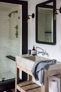 saved for those schoolhouse electric sconces Jersey Ice Cream Co. Old Chatham House, Remodelista, sink and shower