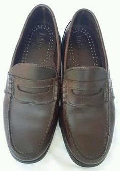 Mens Brown Leather Penny Loafers Shoes SIze 7.5M By BASS