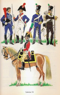 Spain; Troops of Andaluzas Bajo 1809-14. top L to R Light Cavalry of the Squadrons of Seville's Civic Guard, Batalion of the Civic Militia of Seville, Fusilier, Trooper Mounted Companias de la Costa 1810-12 & Infantryman of the Companias de la Costa 1810-12.  Bottom; Light Cavalry of the Malaga Guard of Honour.