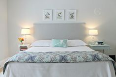 Jo's Colours: Horizon   Jo Galbraith Design Benjamin Moore Horizon OC 53. A pale and sophisticated blue-gray creates a soothing backdrop for a bedroom