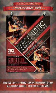 Acoustic #Event #Flyer / Poster - Events Flyers Download here: https://graphicriver.net/item/acoustic-event-flyer-poster/20185374?ref=alena994