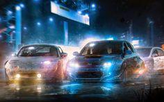 Scarica sfondi Mazda MX-5, la Subaru Impreza WRX STI, notte, arte, razza, Mazda, Subaru, auto giapponesi