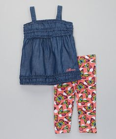 Look what I found on #zulily! Blue  Pink Chambray Top  Butterfly Leggings - Infant  Girls #zulilyfinds
