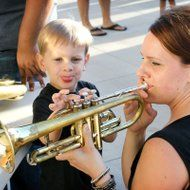 Joseph Whiteley, 3, helps his mom, Alexis, play the trumpet at the musical petting zoo set up outside of the Victoria Fine Arts Center before Thursday's Symphonic Spooktacular. The petting zoo had brass instruments, string instruments and percussion instruments for children, and adults, to try out. Fine Arts Center, Petting Zoo, Photos Of The Week, Zoo Animals, Percussion, Trumpet, Joseph, Musicals, The Outsiders