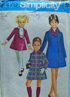 60s Girls Dress Coat Pattern Simplicity 8479 by PatternMatters
