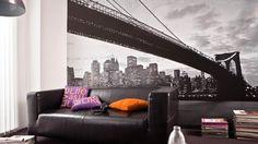 Déco style New-York : le papier peint // http://www.deco.fr/diaporama/photo-jouer-le-ton-sur-ton-pour-agrandir-les-petits-espaces-62820/
