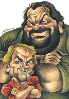 BUD SPENCER/TERENCE HILL Funny Cartoon Faces, Cartoon Characters, Cool Cartoons, Cartoon Art, Celebrity Caricatures, Funny Caricatures, Art Pictures, Funny Pictures, Painting & Drawing