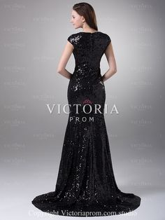 Elegant Black Mermaid Long With Train Sequin Cap Sleeve Prom Dress - US$139.99 - Style P0862 - Victoria Prom
