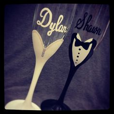 A personal favorite from my Etsy shop https://www.etsy.com/listing/192776358/bride-and-groom-champagne-glasses