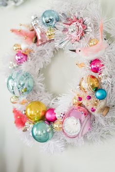 Vintage ornament wreath - adore this