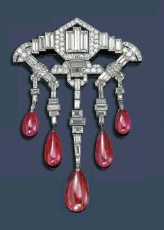 LACLOCHE~ Art Deco Ruby and Diamond brooch