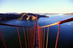 View from the Top of the Golden Gate Bridge  California, San Francisco, Marin Headlands from Golden Gate Bridge tower