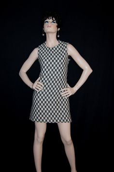60s Rudi Gernreich Wool Checkered Mod Mini Dress by ModVibeVintage, $935.00