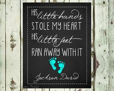 His Little Hands Stole My Heart His Little Feet Ran Away With It. Baby Gift Nursery Room Decor His by ThreeGypsySouls