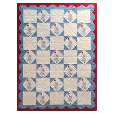 Folky Mounted Red/White/Blue Sunbonnet Sue Crib Quilt with Balloon 1