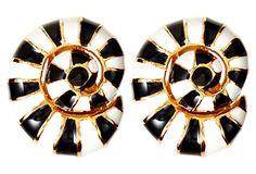 Black & White Striped Shell Earrings