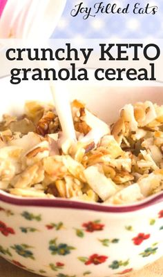 This Low Carb Granola Recipe with Almond Coconut and Sesame Seeds has the perfect crunch with just enough sweetness to sweeten your morning. It is great by the handful or as a cold cereal with almond milk. Keto Foods, Ketogenic Recipes, Low Carb Recipes, Diet Recipes, Healthy Recipes, Diet Meals, Low Carb Granola, Keto Diet Breakfast, Breakfast Recipes