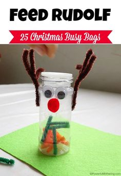 quick and easy busy bag idea featuring feeding Rudolf some carrots and moss. 25 Christmas Busy Bags Series!