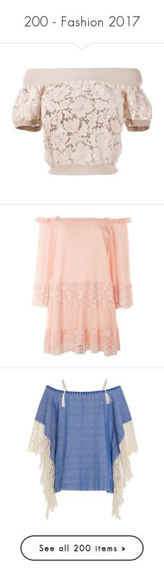 """""""200 - Fashion 2017"""" by alongcametwiggy ❤ liked on Polyvore featuring tops, pink lace top, pink top, short sleeve off the shoulder top, short sleeve lace top, off shoulder short sleeve top, dresses, coral, double layer dress and sleeved dresses"""