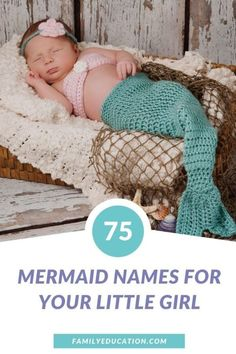 Here's a list of 75 baby girl names inspired by mermaids, the sea and everything in between. Find a unique, beautiful name for your baby on the way with this inspiration! #babynames #girlnames