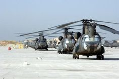 CH-47 Chinook helicopters line up along the flight line of Bagram Airfield in the Parwan province of Afghanistan June 29, 2007